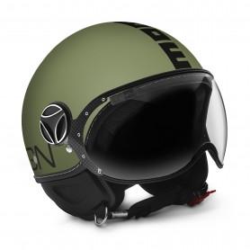 Casco Jet Momo Design FGTR Classic Verde Militare Metal Matt